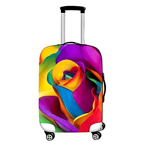 Surwin 3D Cubierta de Equipaje Protectora Suave Elástico Anti-Polvo Lavable Funda de Maleta Luggage Cover con Cremallera Viaje Cubierta de la Caja (Flores de Colores,S (18-20 Pulgadas))