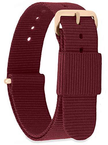 MOMENTO Damen Herren NATO Nylon Ersatz Uhren-Armband Strap mit Edelstahl-Schliesse in Rose-Gold und Nylon-Armband in Dunkel-Rot 22mm