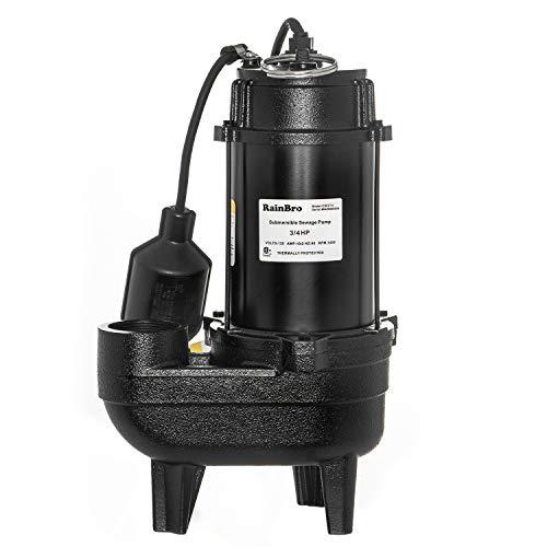 RainBro 3/4 HP Cast iron submersible sewage pump with 10 ft. piggy back tether float switch, Model# CSE075