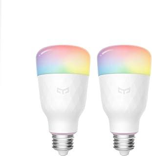 Yeelight Wifi-lamp, 16 miljoen kleuren, E27, 8,5 W, RGB, dimbaar, 800 lm, wit licht, smart home app, afstandsbediening (2 ...