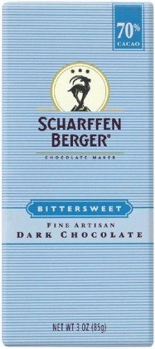 SCHARFEEN BERGER Artisan Chocolate Bars, Bittersweet, 3 Ounce (Pack of 6)