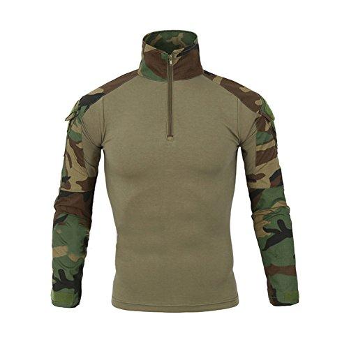 LANBAOSI Chemise de Combat Militaire Homme Airsoft Shirt Tenue Camouflage Uniforme Tactique Séchage Rapide à Manches imperméables Vert x-Large