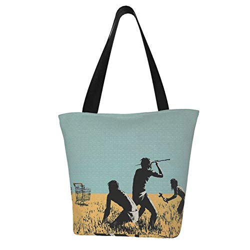 Banksy Trolleys Canvas Tote Bags With Zipper And Inner Pocket Reusable Shopping Grocery Bags Cotton Shoulder Bags For Gift Fun Art Cosplay Travel
