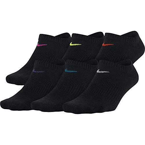耐克女性日常轻薄无秀袜(6双),黑色/多色,中号