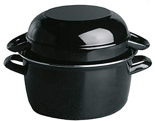 APS Muscheltopf, Servier-Muscheltopf für 1 kg, Meeresfrüchte-Topf, Muschel-Serviertopf, Muscheltopf aus schwarz emailliertem Stahl, Inhalt: 2,6 Liter, 20 x 25 cm, Höhe 17 cm