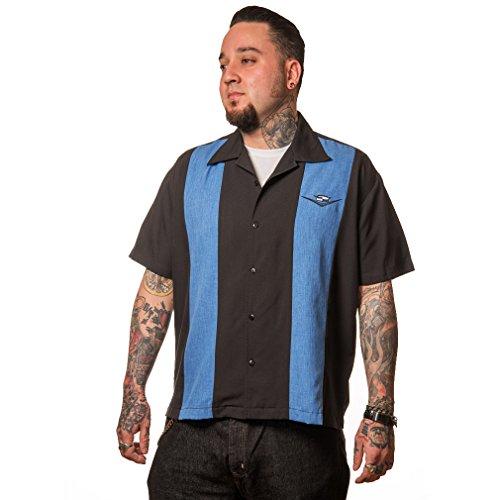 Steady Clothing Vintage Bowling Hemd - Classic Cruising Blau Retro Bowling Shirt (XXL)