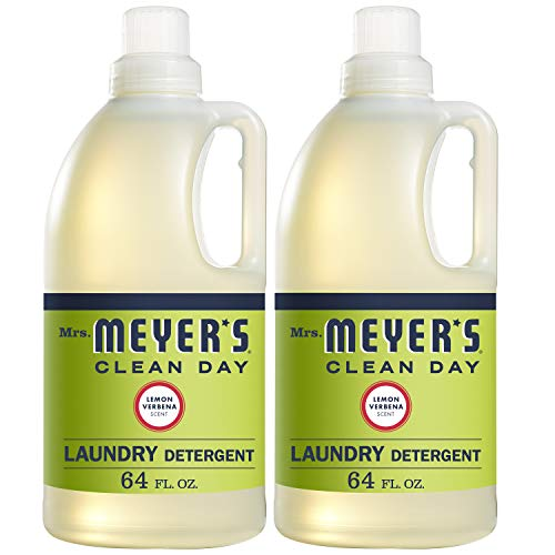 Mrs. Meyer's Clean Day Liquid Laundry Detergent, Cruelty Free and Biodegradable Formula, Lemon Verbena Scent, 64 oz - Pack of 2 (128 Loads)