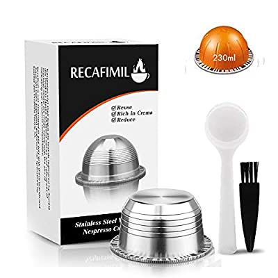 i Cafilas Reusable Coffee Pods, Stainless Steel Refillable Coffee Capsules Compatible with Nespresso Vertuoline Vertuo Plus Machines (Big Cup)