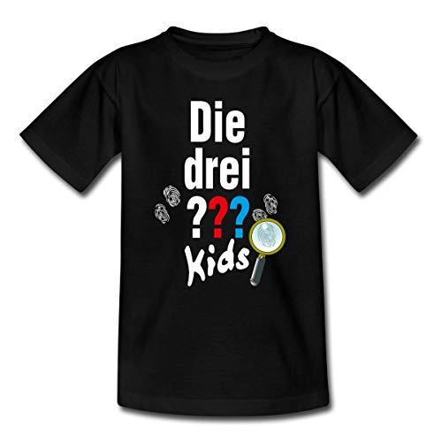Spreadshirt Die DREI Fragezeichen Kids Logo und Gadgets Teenager T-Shirt, 134-146, Schwarz