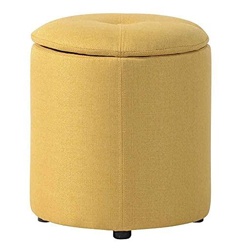pouf 40 cm BAKAJI Pouf Contenitore Sgabello Cassapanca Poggiapiedi con Seduta Apribile in Tessuto Piedini in Legno Nero Design Moderno Dimensione 36 x 40 cm Arredamento Casa (Giallo)