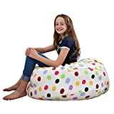 2 Sizes in 1 Large Bean bag Stuffed Animal Storage | XL Jumbo Ottoman for Soft Toys, Plush Toys | Giant Pouf Organizer for Linens, Quilts, Pillows | 300 L. / 80 Gal. | 42' | Polka Dots
