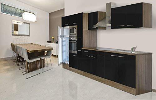 Respekta inbouw keuken blok 360 cm eiken York imitatie zwart oven Ceran magnetron apothekerskast