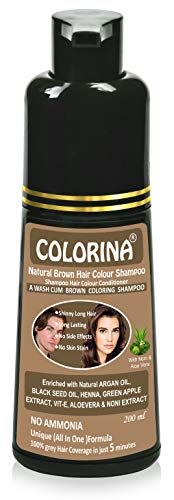 Colorina Hair Color Shampoo 200 ml (Natural Brown)   No Skin Stain, No Ammonia, No Parabens   Enriched with Green Apple Extract, Noni Extract, Vit-E, Argan Oil, Black Seed Oil, Henna, Aloevera