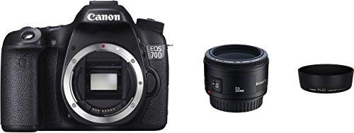 Canon EOS 70D con EF 50 mm f/1.8 II y Parasol ES-62 W cámara (20,2 MPCMOS, 19 sensores de Cruz AF), Color Negro