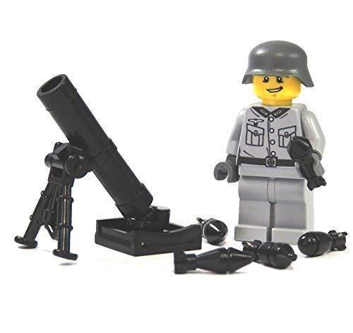 Custom Soldat grau mit Mörser WW2 Figur aus Lego ® und Custom Teilen