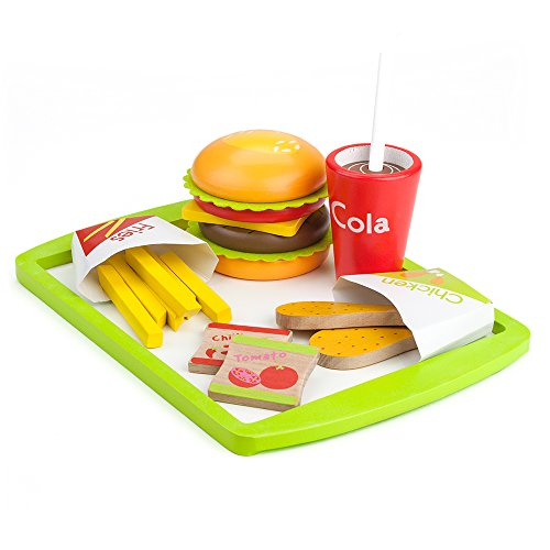 Imagination Generation Fast Food Deluxe Dinner - All American Favorites Wooden Diner Set - Stackable Fake Food with Tray for Pretend Kitchen Play - Toy Groceries, Dishes, & Cooking Accessories