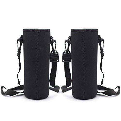 Kvvdi 2 Pack 32 oz Neoprene Glass Water Bottle Cooler Sleeve Insulator 32oz Bottle Cover Holder Carrier with Shoulder Strap