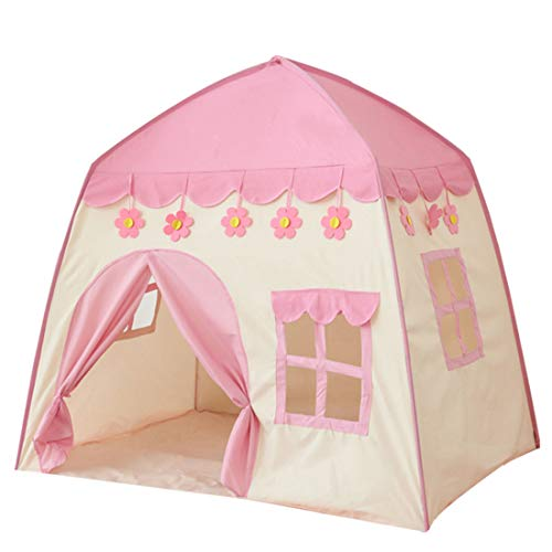 LWKBE Kids Play Tent Castle Großes Tipi-Zelt für Kinder Tragbares Spielhaus Kinderhaus Fort Indoor Outdoor-Einsatz mit Tragetasche für Jungen und Mädchen Pink Blue,Pink