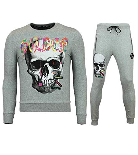 Trainingspakken Heren - Slim Fit Heren Joggingpak - Color Skull - Grijs