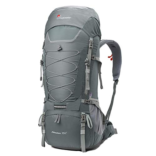 MOUNTAINTOP 70L/75L Internal Frame Hiking Backpack (75L-Gray)