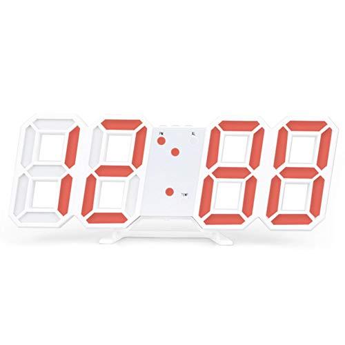 SNAWEN Reloj Despertador Digital LED 3D, Relojes de Noche, Reloj Despertador para NiñOs, Reloj Despertador LED 3D, Luz Nocturna Regulable, FuncióN de Reloj Despertador de Cocina,Blanco,Black Frame