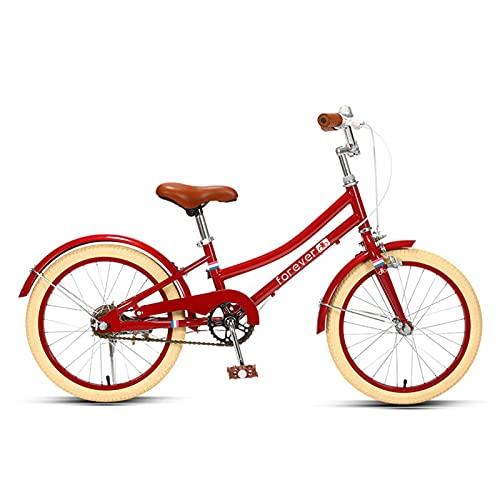 MIAOYO Princesa Vintage Bicicleta Infantil,18/20 Pulgadas Niños Y Niñas Alto-Acero Al Carbono Citybike,Bicicleta Montaña para Los Niños Regalos,Rojo,18'