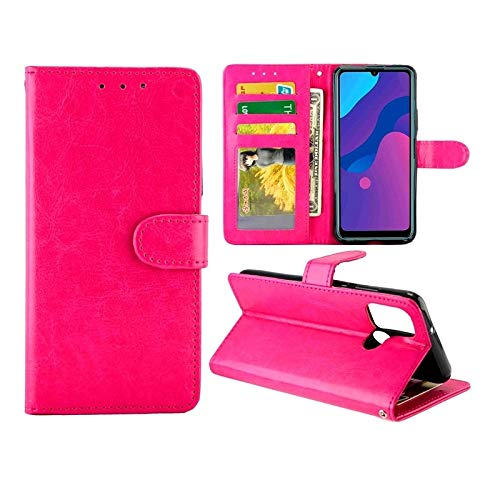 Huawei Cases for Huawei Honor Play9A/Honor9A Crazy Horse Texture Leather Horizontal Flip Protective Case with Holder & Card Slots & Wallet & Photo Frame Huawei Cases (Color : Magenta)