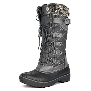 DREAM PAIRS Women s DP-Avalanche Grey Faux Fur Lined Mid Calf Winter Snow Boots Size 9 M US