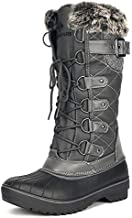 DREAM PAIRS Women's DP-Avalanche Grey Faux Fur Lined Mid Calf Winter Snow Boots Size 9 M US