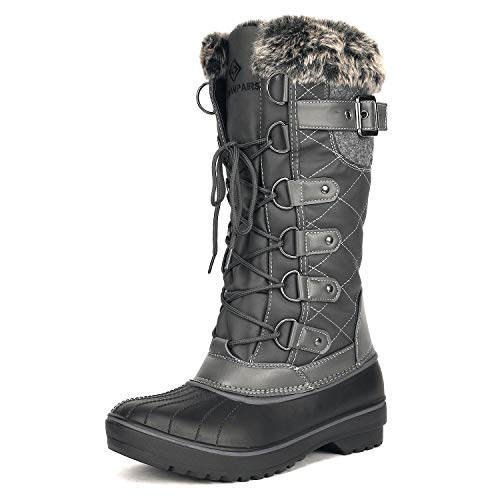 DREAM PAIRS Women's DP-Avalanche Grey Faux Fur Lined Mid Calf Winter Snow Boots Size 8 M US