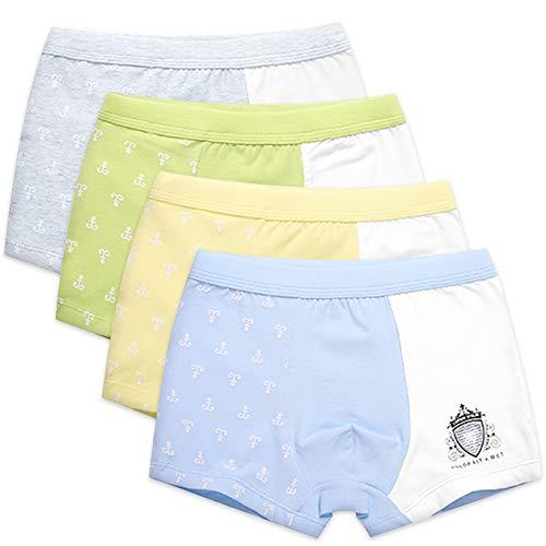 4 Pack Kinder Jungen Boxershorts Unterwäsche Slips Junge Boxer Unterhose Baumwolle Mikrofaser Slips Schlüpfer 2-13 Jahre (120, Abzeichen)