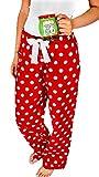 Unisex Casual Pajama Pants Polka Dot/Plaids Printed Lounge Pants Wide Leg Cotton Nightwear (Red, L)