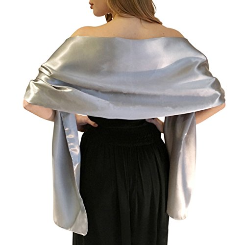 Satin Shawls and Wraps for Evening Dresses Bridal Party Special Occasion by Lansitina, Light Silver, 95