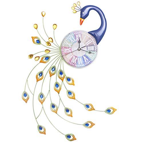 WALL CLOCK 1 Paon Muet Horloge Murale Creative DéCoration Murale Maison Horloge Silencieuse en Fer Forgé, Cadran en Bois (Taille: 32 Cm * 62 Cm)