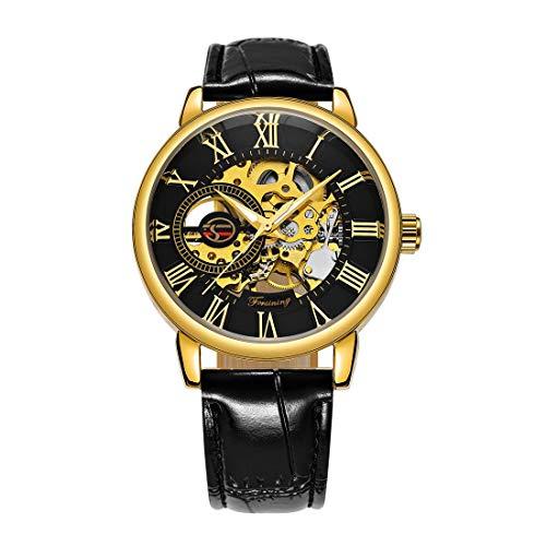 Caluxe Montre squelette pour homme mécanique Logo royal en 3D Cadran avec chiffres romains Bracelet en cuir Noir/or