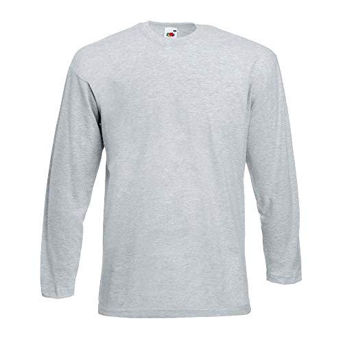 Fruit of the Loom - Manica Lunga T Shirt, T-Shirt, Manica Corta grigio L