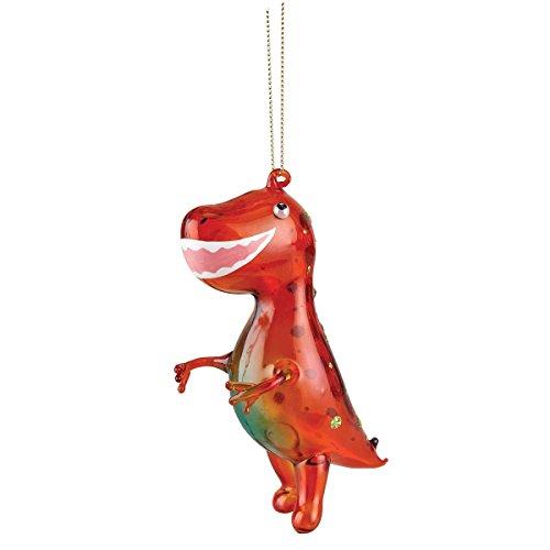 T-Rex Rojo Atractivo de 5 Pulgadas Colgantes de Cristal Decorativo de Navidad Figurita Ornamento