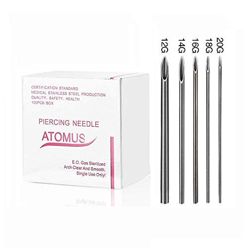 ATOMUS 100 Pcs Mixed Sterilized Body Piercing Needles 12G 14G 16G 18G 20G Professional Tri- beveled Piercing Needles for Ear Navel Eyebrow Ear Piercing