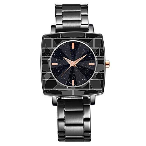 Haoooan Reloj Boys Plaza del Reloj Relojes Unisex De Las Señoras De Cuarzo Vestido Moda De Las Mujeres del Reloj del Dial (Color : Black)
