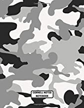 Cornell Notes Notebook: Black and Gray Camo Design for Taking High School and College Notes Plus Office Use