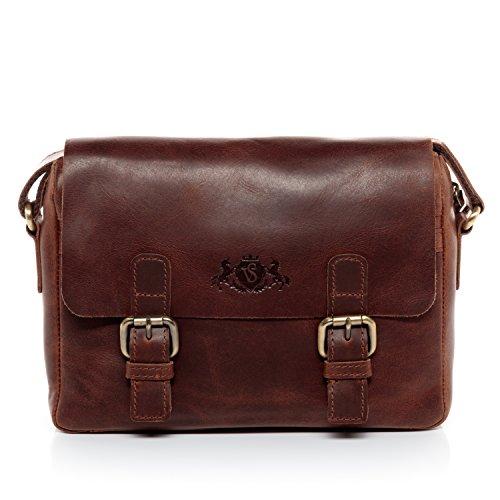 SID & VAIN Messenger Bag echt leer Yale laptoptas laptop schoudertas lederen tas