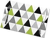 Set Tovagliette Lavabili Antiscivolo Tovaglietta Termoresistente Lime Verde Grigio Nero Triangoli Su Bianco30 Cm X 45 Cm (12 Pollici X 18 Pollici) 6 Pezzi
