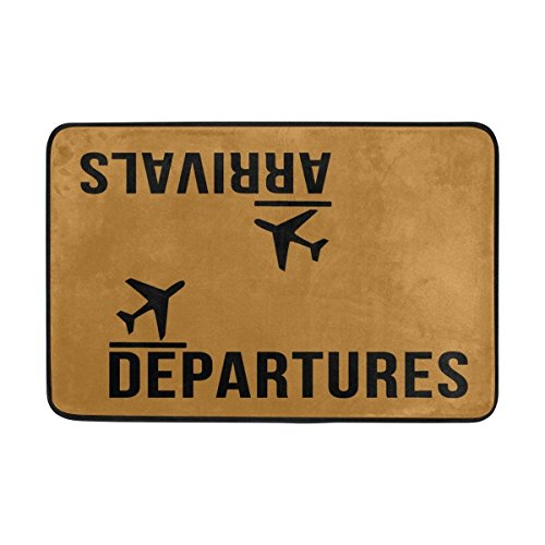 Felpudo Arrivals Departures Floor Mat Non-Slip Felpudo 15.7X23.6 Inch Machine Washable Polyester Fabric