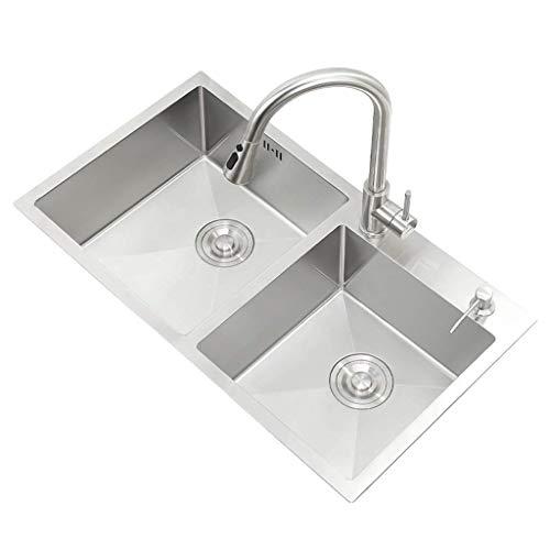 WQF Fregadero de Cocina Fregaderos de Doble Seno Lavabo de baño Lavaplatos...