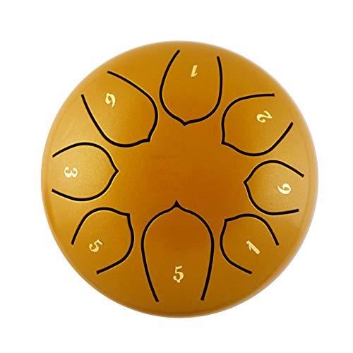 CMAO Sechs Zoll Stahl Zunge Trommel, Miniachtelnote ätherisch Trommel mit Trommel und Drumstick Taschen leicht zu erlernen,Gold