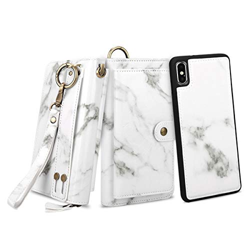 """Petocase Compatible iPhone Xs Max Wallet Case, Multi-Functional PU Leather Zip Wristlets Clutch Detachable Magnetic 13 Card Slots 4 Cash Purse Protect Cover for Apple iPhone 10S Max 6.5"""" White Marble"""