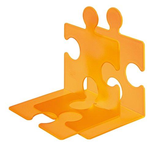 HAN Buchstütze PUZZLE – coole und verkettbare Buchstütze im modernen Puzzle-Look. Für CDs und Bücher, transluzent-orange, 9212-61