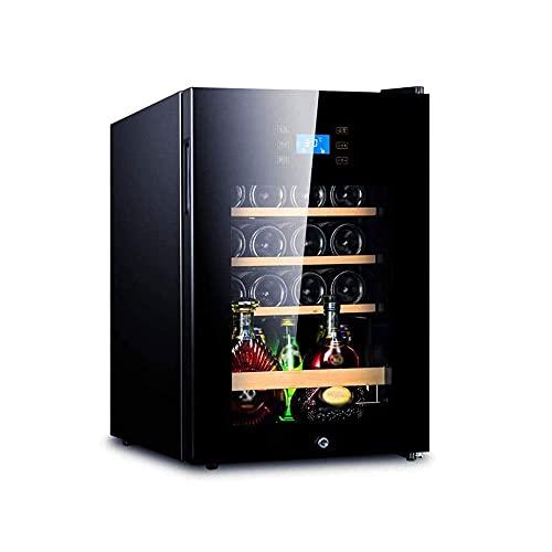Nevera Eléctrica Portátil Frigorífico de vino - enfriador de vino con marco de acero inoxidable Puerta delantera de cristal - 62L Frigorífico de vino y bebida, 5-18 ℃ Zona de temperatura Bloqueo y tec