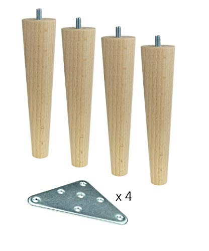 4x Holzfüße,Möbelfüße, Sofafüße Buche, Zubehör L.10 cm schräg Holz (H-200 Gerade)