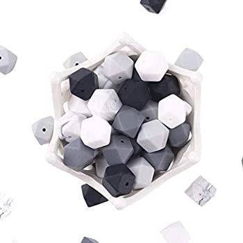 Baby Silicone Octagonal Beads BPA Free 50pcs  17mm  for Baby Food Grade DIY Necklace / Bracelet Beads…